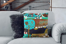 Load image into Gallery viewer, art print pillow throw, cushion cover, pillow cover, decorative cushion cover, decorative pillow, armchair pillow, unique art print pillow, linocut print, blue gold cushion, laylart studio, laylart, interior design, designer cushion, floral whimsy design, colourful home decor, unique fine art pillow
