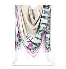 Load image into Gallery viewer, lightweight scarf for women, neutral scarves. summer scarf for women, laylart studio scarf, art printed scarf, unique scarf for wife, gift ideas for anniversary, birthday gift for girlfriend