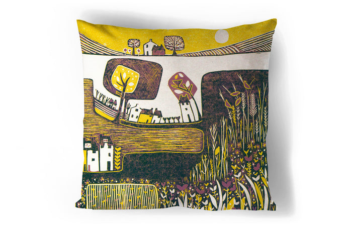art print pillow throw, cushion cover, pillow cover, decorative cushion cover, decorative pillow, armchair pillow, unique art print pillow, linocut print, yellow purple cushion, laylart studio, laylart, interior design, designer cushion, floral whimsy design, colourful home decor, unique fine art pillow