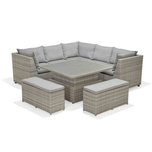 Aruba Rattan Weave Corner Casual Dining Set With Height Adjustable Table
