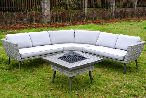 Stockholm Corner Sofa Set with Fire Pit Table by Hills Leisure