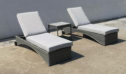 Washington Deluxe Rattan Weave Sun Lounger Set by Hills Leisure