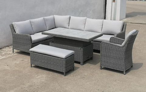 Washington Corner Set With Adjustable Table in Grey by Hills Leisure