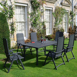 Libeccio Extendable Table 6 Seater Dining Set in Anthracite with Reclining Chairs by Nardi