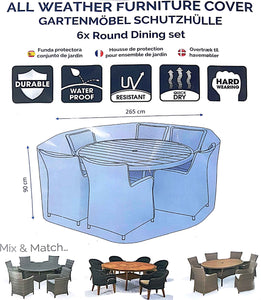 Deluxe 6 Seat Round Dining Set Cover