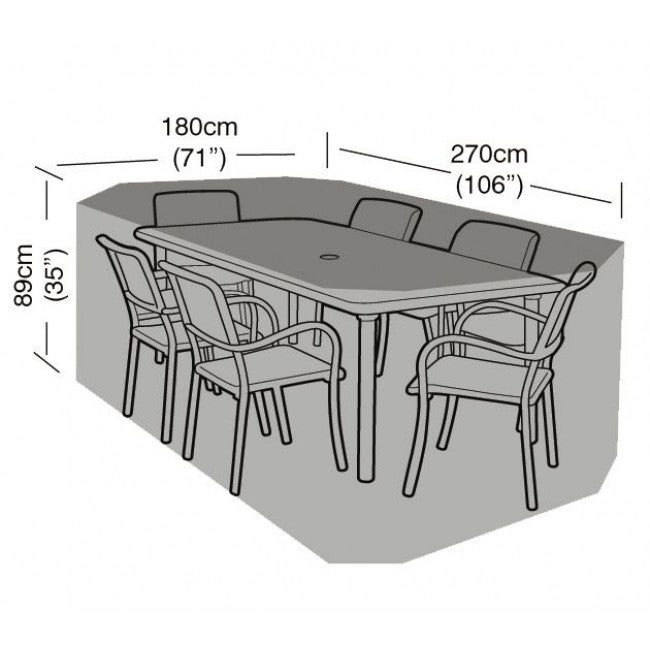 Deluxe 6 Seat Rectangular Dining Garden Furniture Set Cover (W1412)