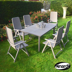Libeccio Extendable Table 6 Seater Dining Set in Tortora with Reclining Chairs by Nardi