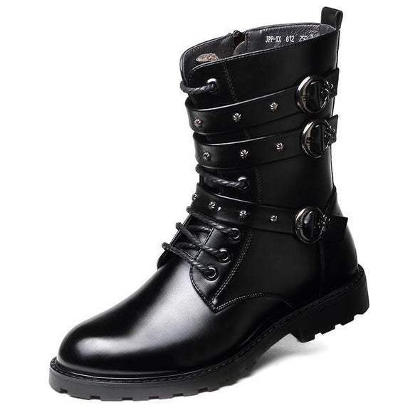 Combat Skull Metal Buckle Lace Male Motorcycle Boots Men's Shoes