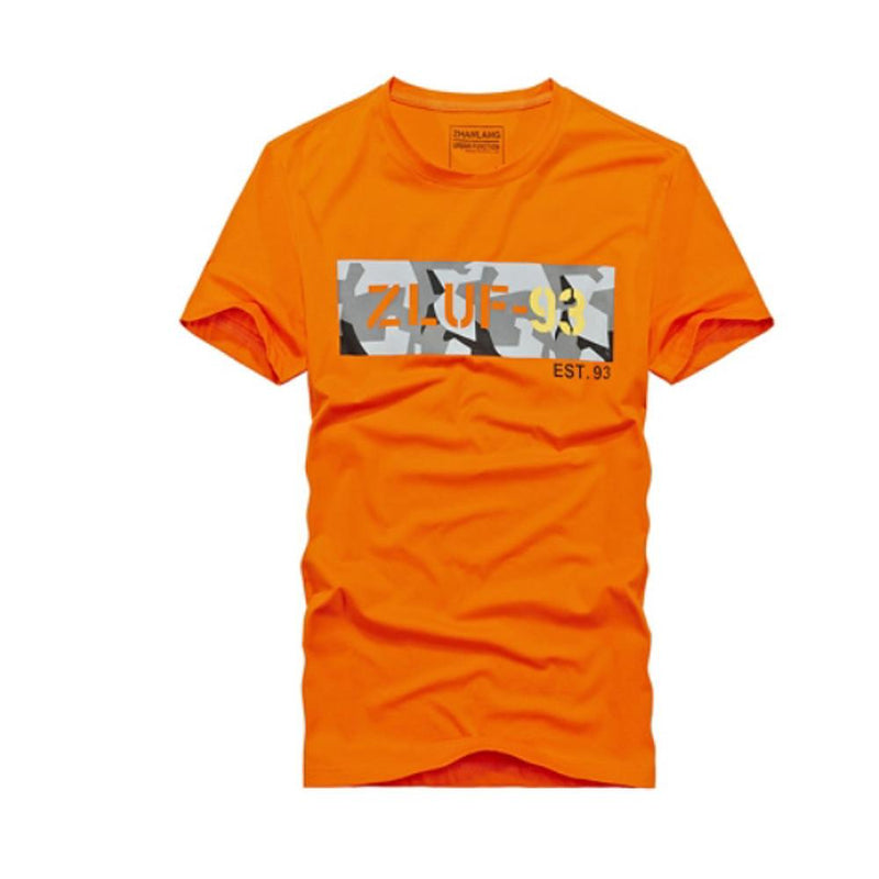 Men's  Cotton Slim T-shirt - Solid Colored Round Neck Orange - SlickWearApparel