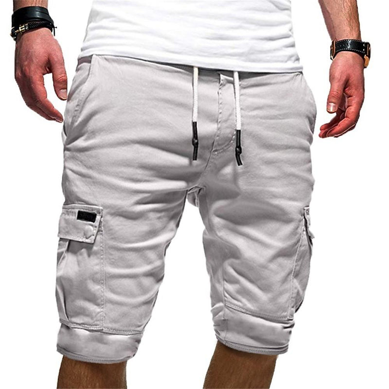 Men's Solid Colored Cotton Black Gray Khaki Shorts