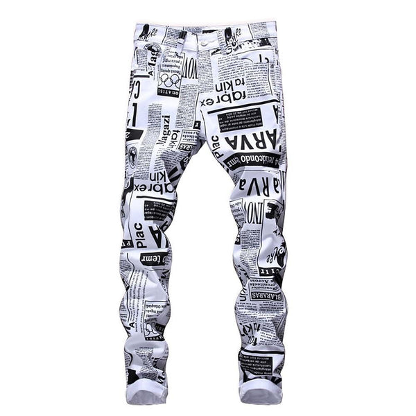 Men's Slim Chinos Pants - Letter Black & White, Print - SlickWearApparel