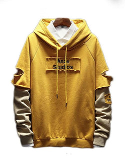 Men's Long Sleeve - Solid Colored / Letter Hooded Beige Sweatshirt