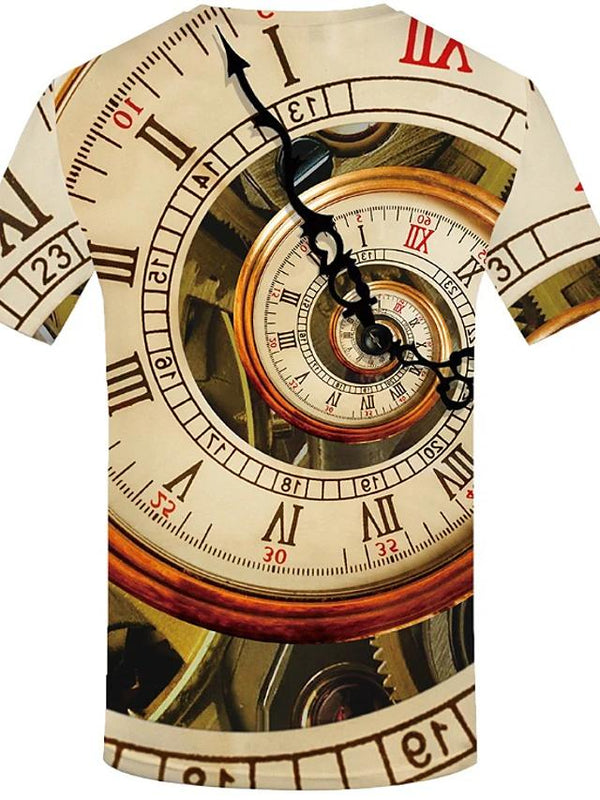 Men's Plus Size 3D Clock Spiral T-Shirt