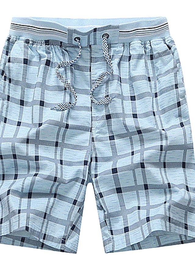 Men's Checkered Navy Blue Yellow Light Blue Shorts - SlickWearApparel
