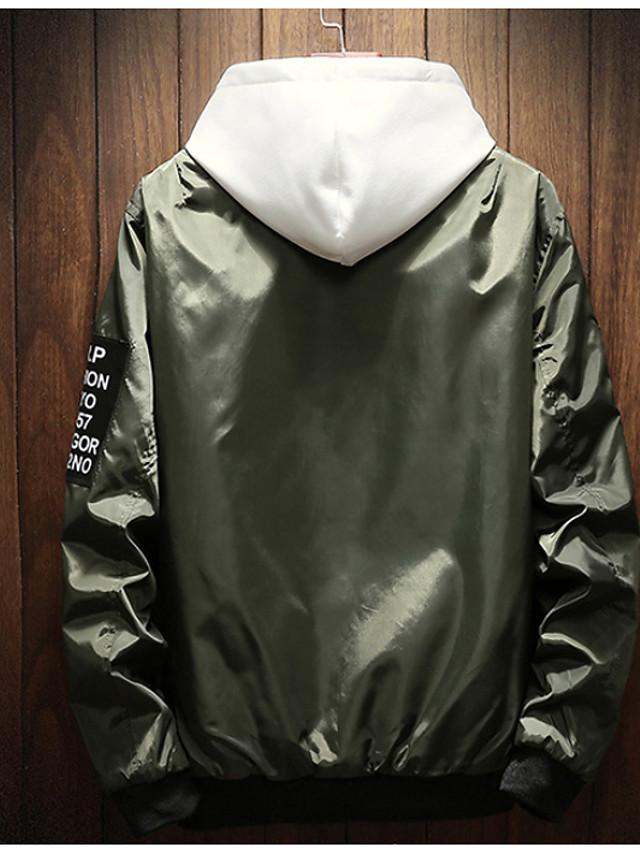 Men's Long Sleeve Polyester Black / Gray / Army Green Jackets