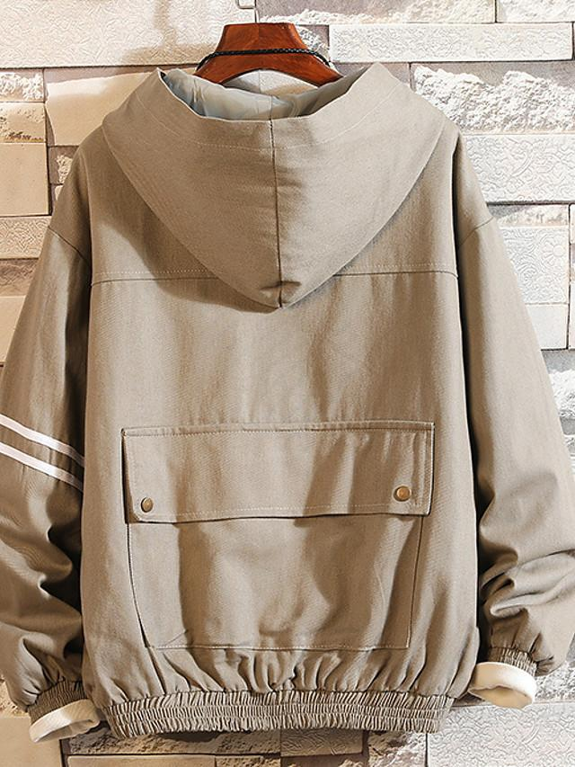 Men's Solid Colored Hooded Long Sleeve Cotton Black / Dark Gray / Light Brown Jackets