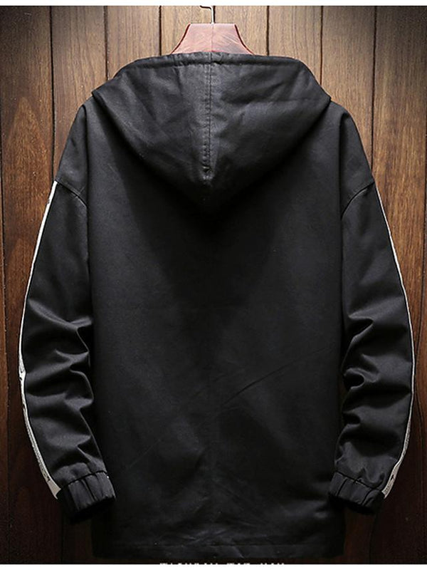 Men's Hooded Long Sleeve Cotton Print Black Jackets - SlickWearApparel