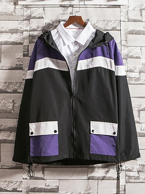 Men's Fall Color Block Hooded Long Sleeve Jacket - SlickWearApparel