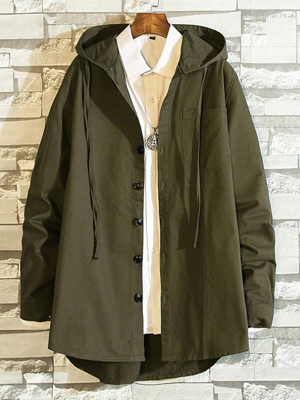 Men's Fall Long Trench Solid Colored Hooded Long Sleeve Coat - SlickWearApparel