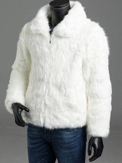 Men's Long Sleeve Faux Fur Coat - SlickWearApparel