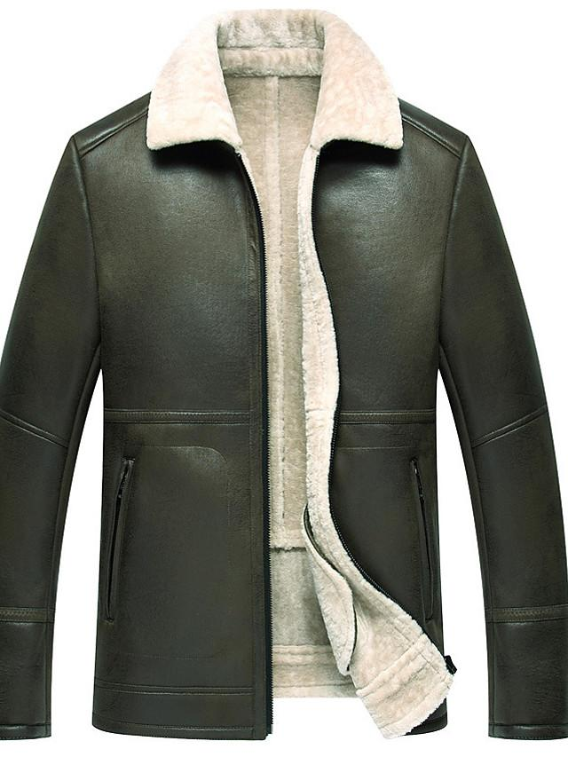 Men's Leather Solid Colored Rolled collar Long Sleeve Lambskin Jacket - SlickWearApparel