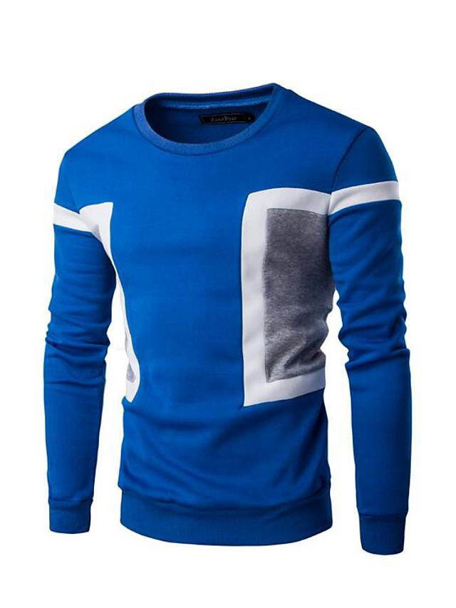 Men's Long Sleeve Sweatshirt - Solid Colored Round Neck Blue L - SlickWearApparel