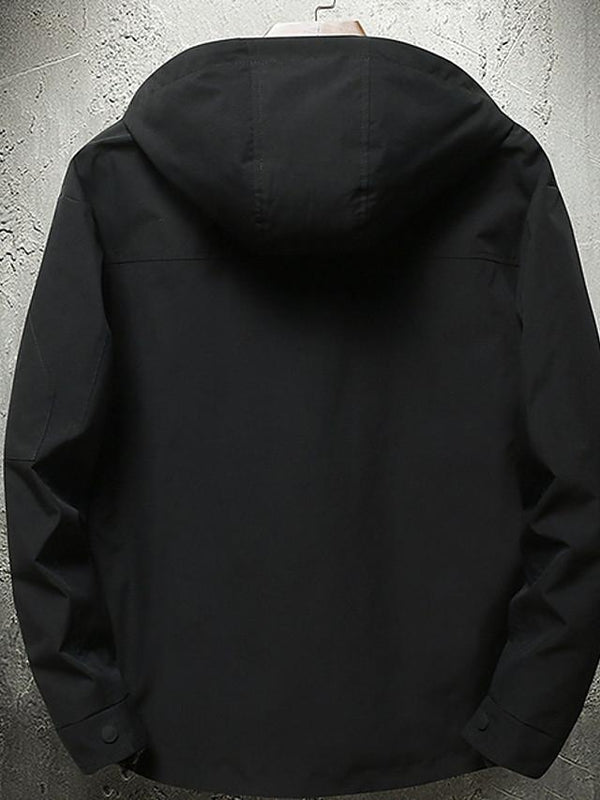 Men's Solid Colored / Letter Hooded Long Sleeve Jacket