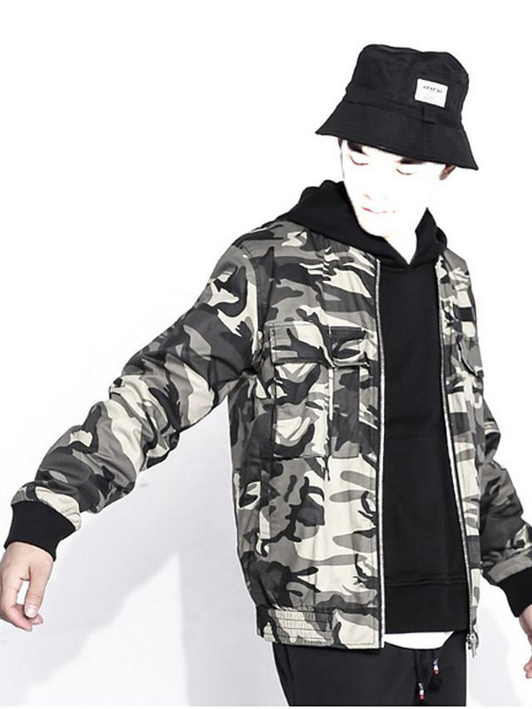 Men's Jacket Camo / Camouflage V Neck Long Sleeve - SlickWearApparel