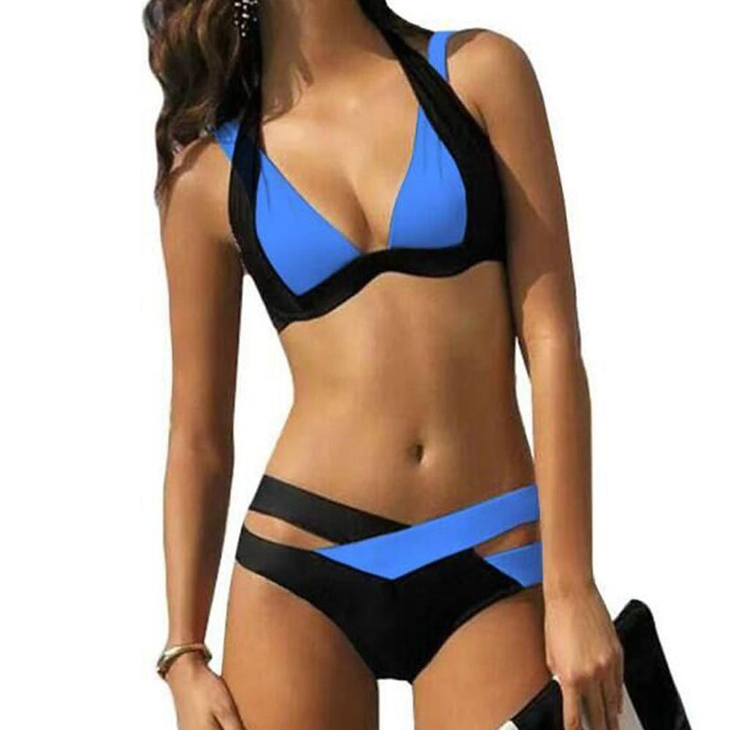 Women's Halter Neck Black Lilac Bikini Swimwear Swimsuit