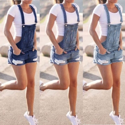 Women Summer Denim Bib Overalls Jeans Shorts