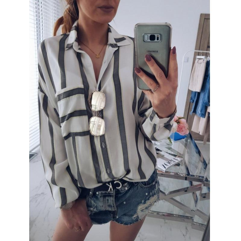 Striped Loose Turn Down Collar Tops