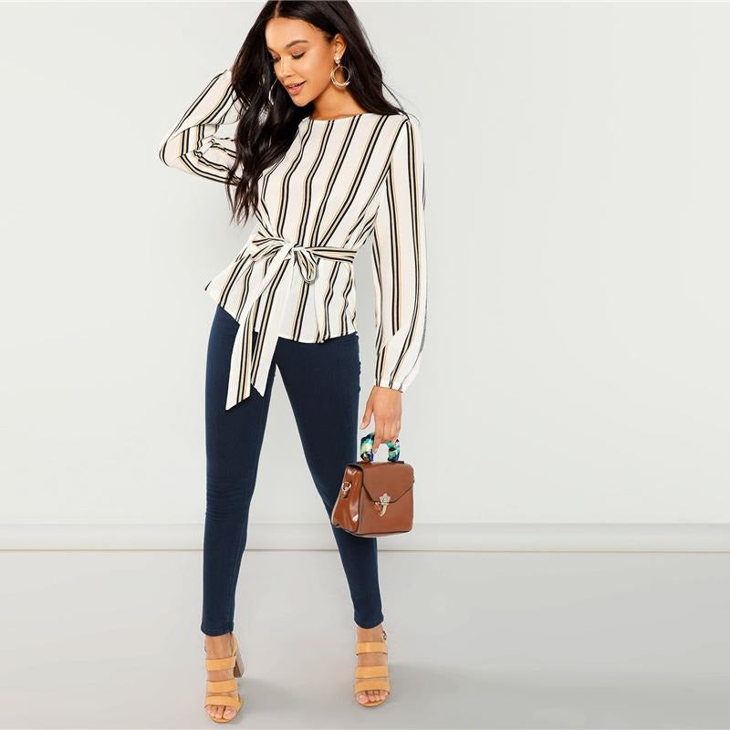 Elegant Striped Scoop Neck Long Sleeve Blouse