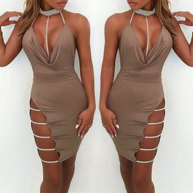 Loose Dress Deep V Neck Sexy Hip Dress - SlickWearApparel