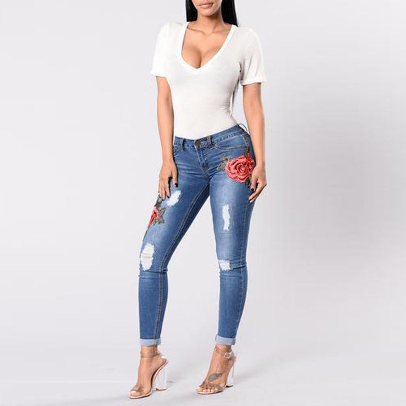 High Waist Pencil Ripped Floral Hole Jeans