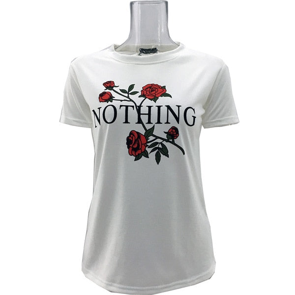 Rose Print Cotton Blend T-shirt