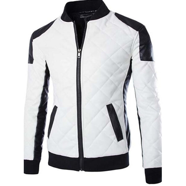 Men's Winter Plus Size Jacket, Color Block Black & White - SlickWearApparel