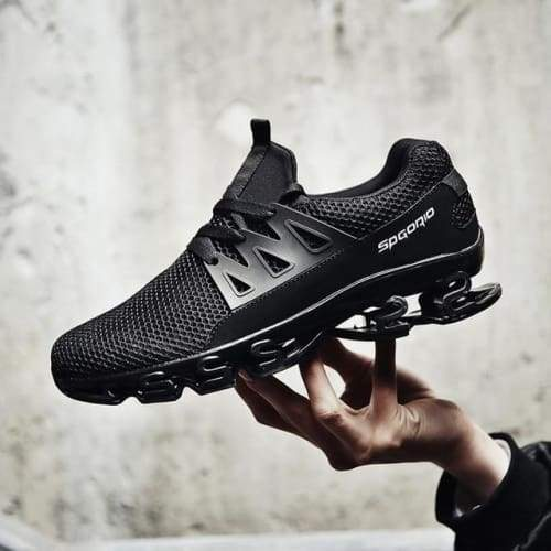 Breathable High Spring Running Sneakers - Black / 7