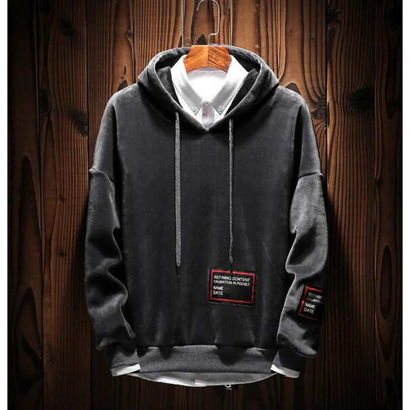 Men's Hoodie - Solid Colored Black XXXL