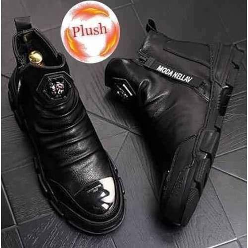 Fashion Designer High Top Boots - Leather with Plush / 44