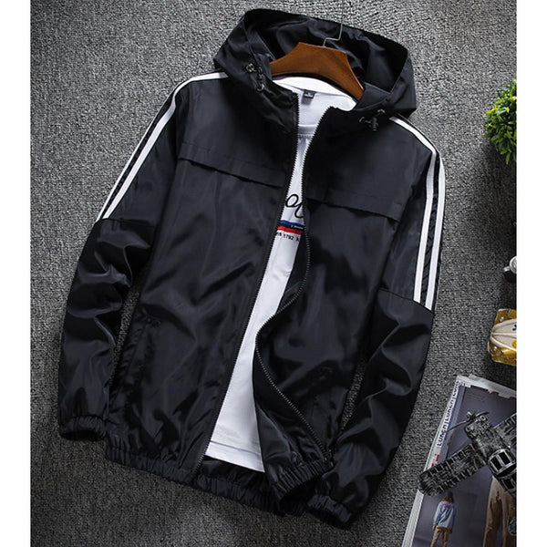 Men's Spring Jacket Solid Colored Hooded Long Sleeve - SlickWearApparel