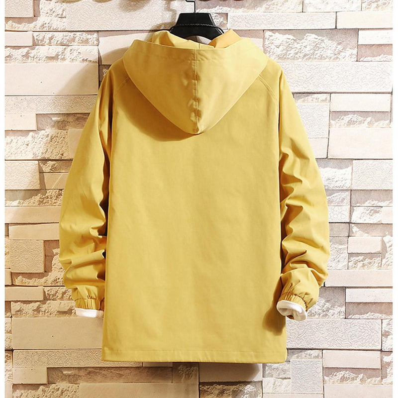 Men's Solid Colored / Geometric Hooded Long Sleeve Polyester Jacket