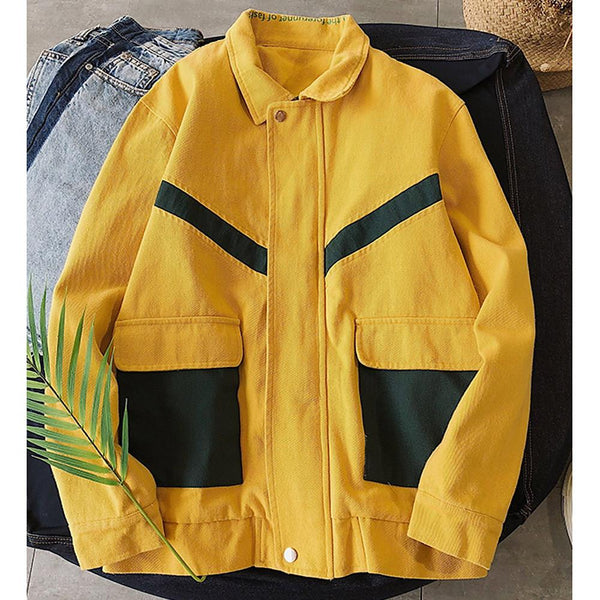 Men's Solid Colored Shirt Collar Long Sleeve Polyester Jacket