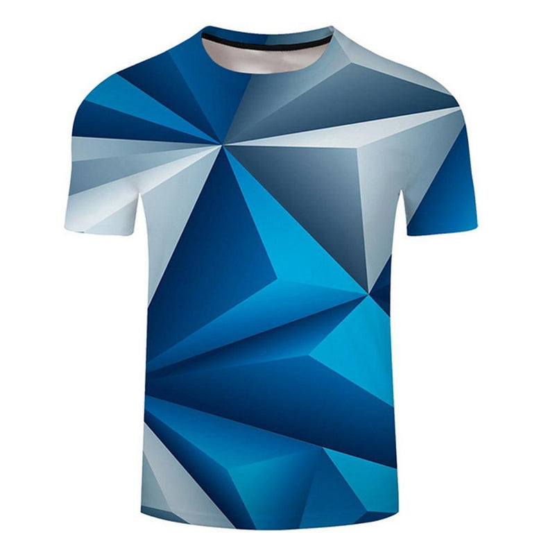 Men's Plus Size T-shirt - Geometric Print Short Sleeve