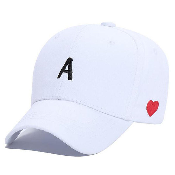 Women's Blushing Pink Letter Heart Baseball Hat - SlickWearApparel