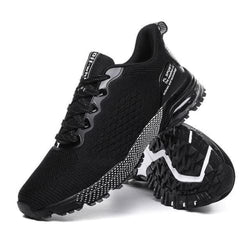 mens breathable sport casual sneakers shoes - black white / 7