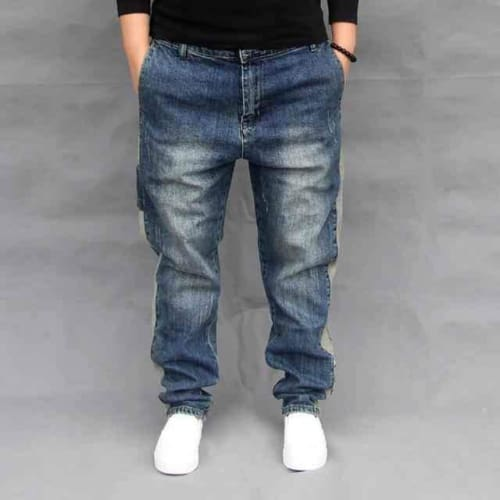 Mens Slim Loose Fit Vintage Button Fly Jeans - blue / 29