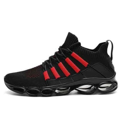 Mens Tennis Sneaker Running Shoes - Blackred / 10
