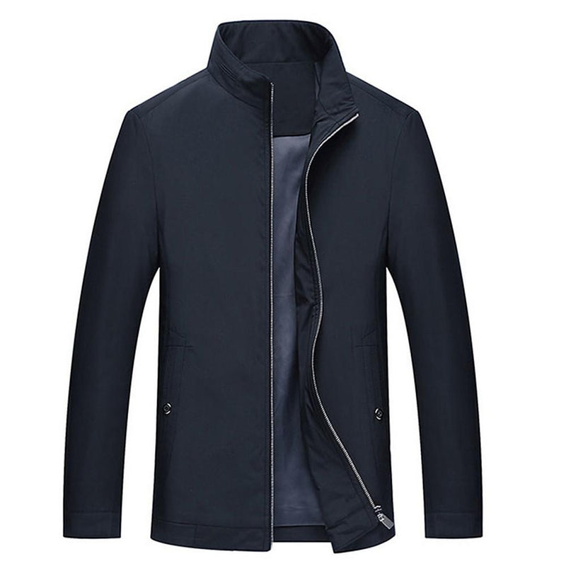 Men's Fall Solid Colored Long Sleeve Polyester Jacket - SlickWearApparel