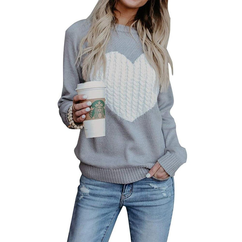 Heart Patterned Designer Knitted Long Sleeve Sweater - SlickWearApparel