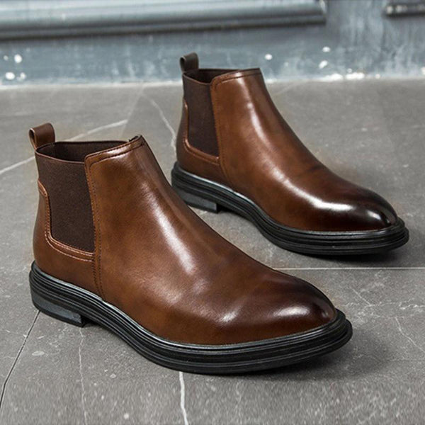 Chelsea Fashion Leather Men's Ankle Boots-slickwearapparel